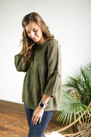 Olive Speckled Sweater With Button Details