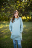 Cozy Dusty Sage Long Crew Neck Sweatshirt With Pockets