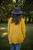 Mustard Popcorn Button Front Cardigan Sweater
