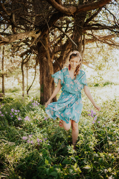 Teal Floral Faux Wrap Dress With Flowy Sleeves