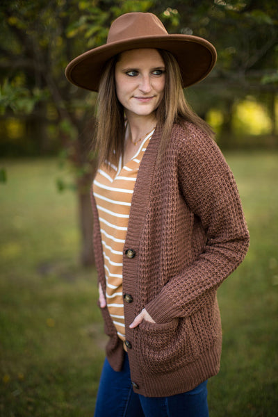 Mocha Oversized Knit Grandpa Cardigan