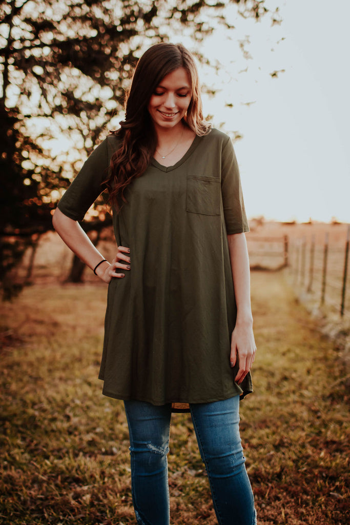 Olive Linen Tshirt Dress with Pocket