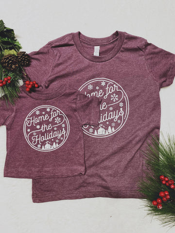 KIDS Home for the Holidays White Print Graphic Tee