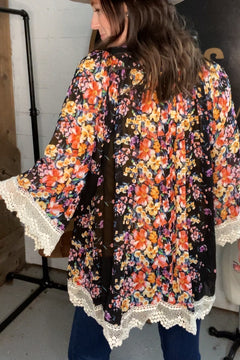 It's All Good Black Floral Kimono With Lace