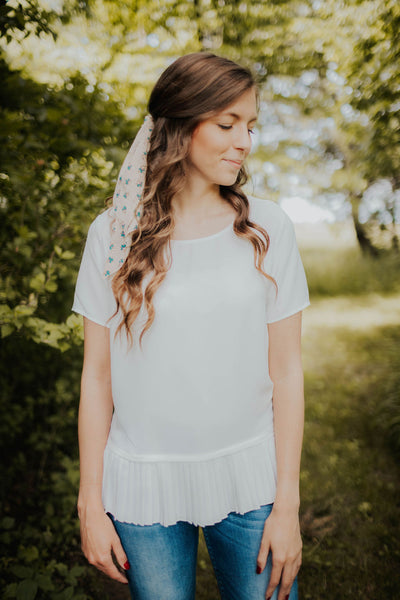 Ivory Pleated & Pieced Blouse
