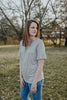 Heather Gray Knit Tee With Cross Detailed V-Neck