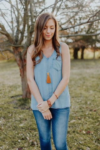 Sleeveless Chambray Tank With Pocket