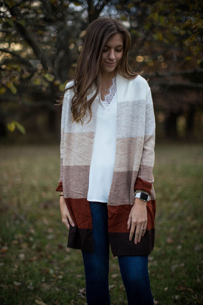 Autumn Color Block Cardigan
