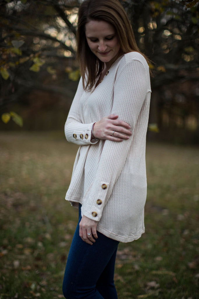 Cream Waffle Knit With Button V-neck Details