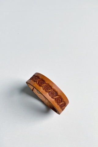 Handmade Embossed Leather Cuff Bracelet With Snap by Liz Cole Designs