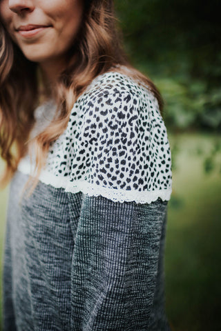 Leopard & Lace Charcoal Sweater