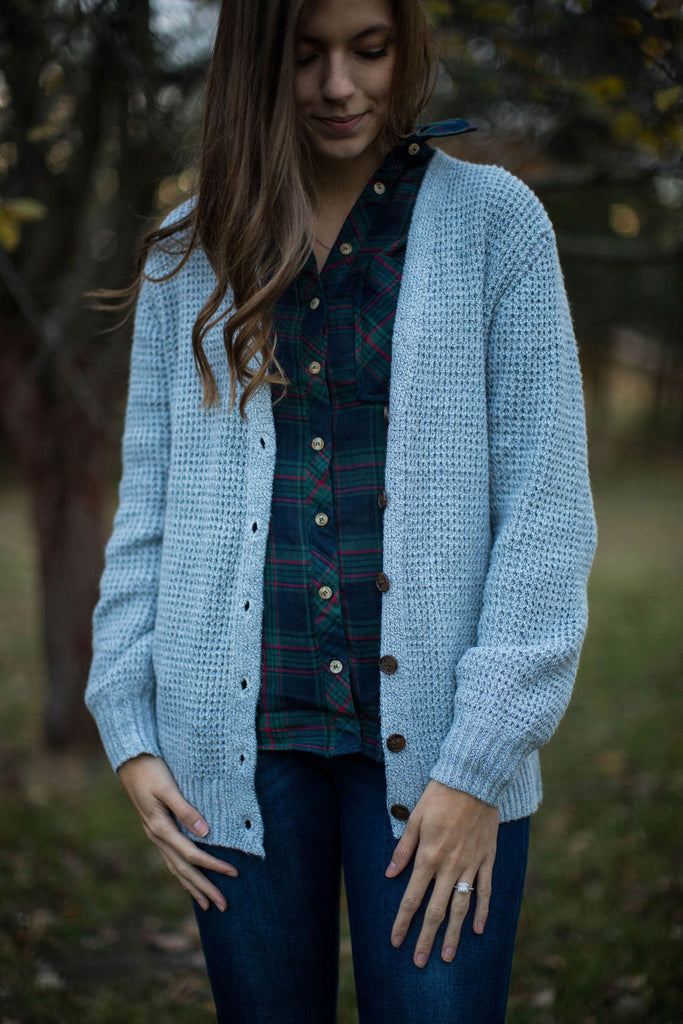 Gray Waffle Knit Button Front Sweater Cardigan