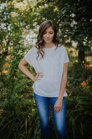 Ivory Linen Basic Comfy Tee