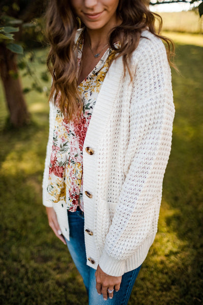 Cream Oversized Knit Grandpa Cardigan