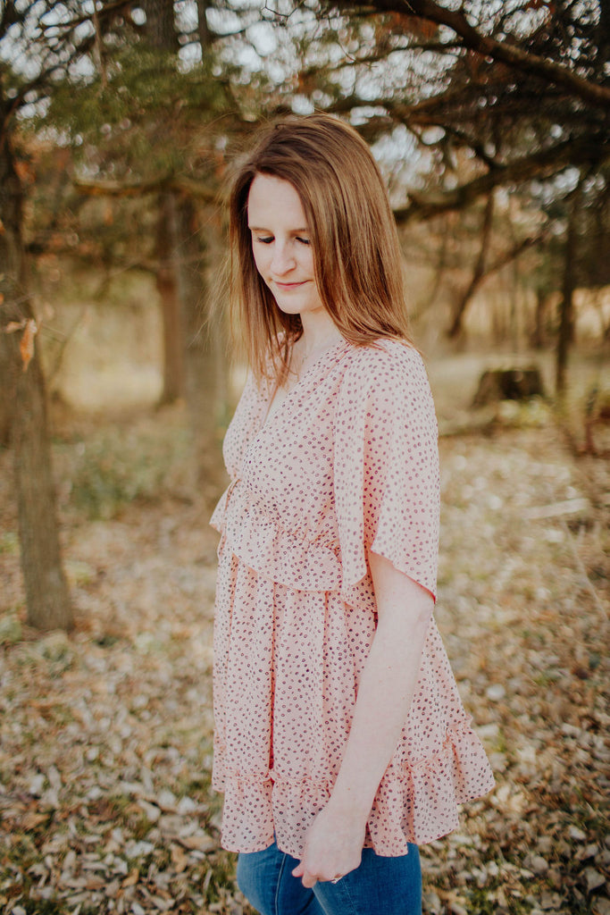 Boho Peach Peasant Dotted Top