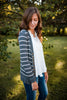 Charcoal Striped Snap Front Cardigan