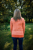 Pumpkin Coral Striped Snap Front Cardigan