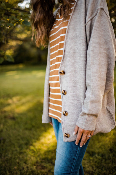 Oversized Heather Taupe Cardigan