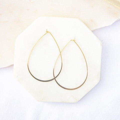 Gold Dainty Teardrop Hoops
