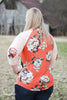 Spring Orange Floral Baseball Top