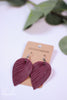 Pinched Petal Deep Mauve Leather Earrings