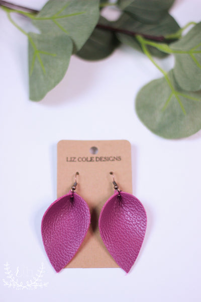 Fuchsia Pinched Petal Leather Earrings