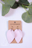 Blush Pinched Petal Leather Earrings