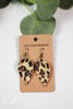 Pinched Petal Leopard Leather Earrings
