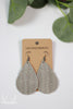 Gray Woven Leather Teardrop Earrings