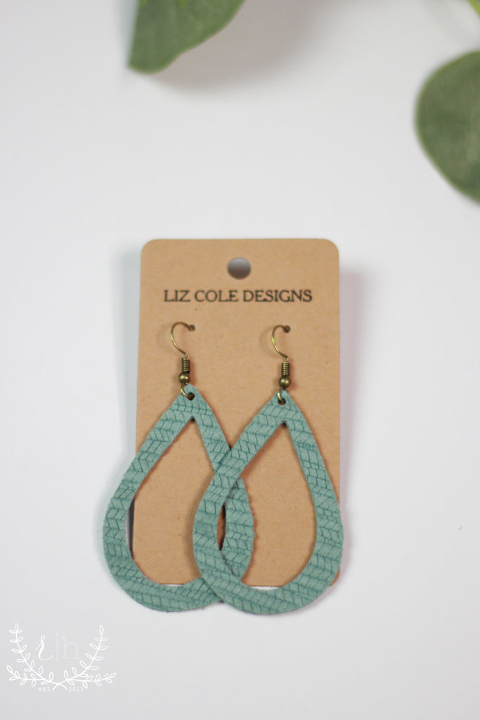 Dusty Mint Textured Cutout Leather Earrings