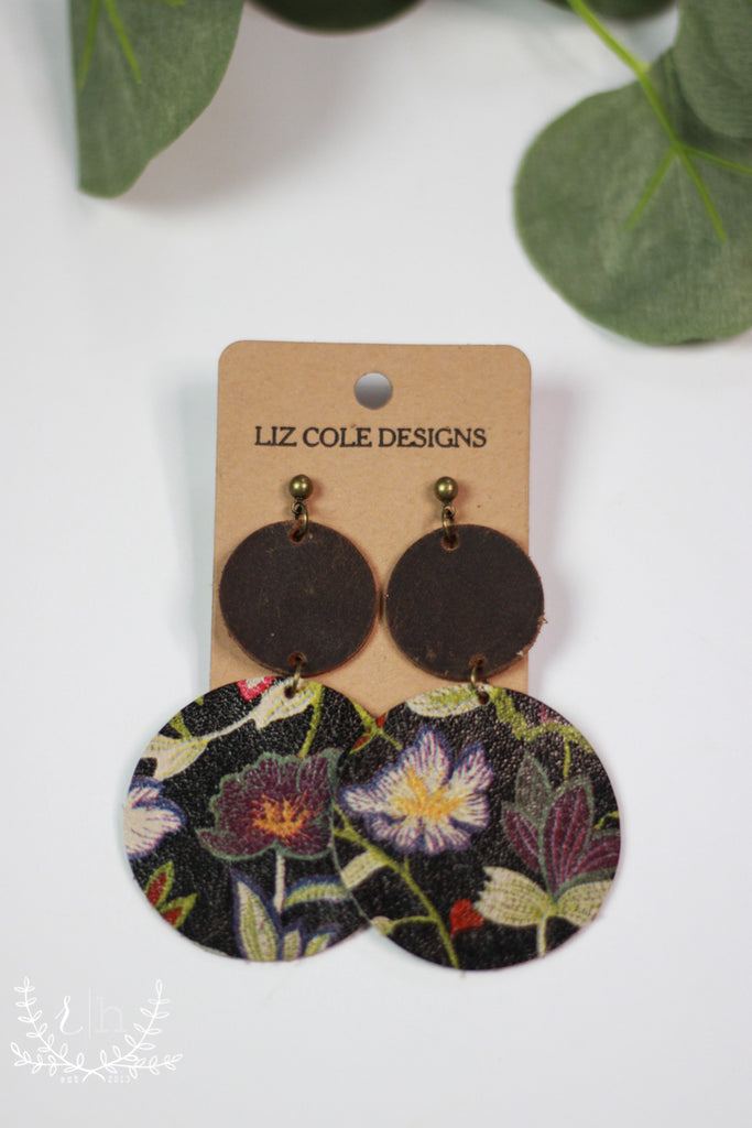 Stacked Violet Floral & Aged Leather Earrings