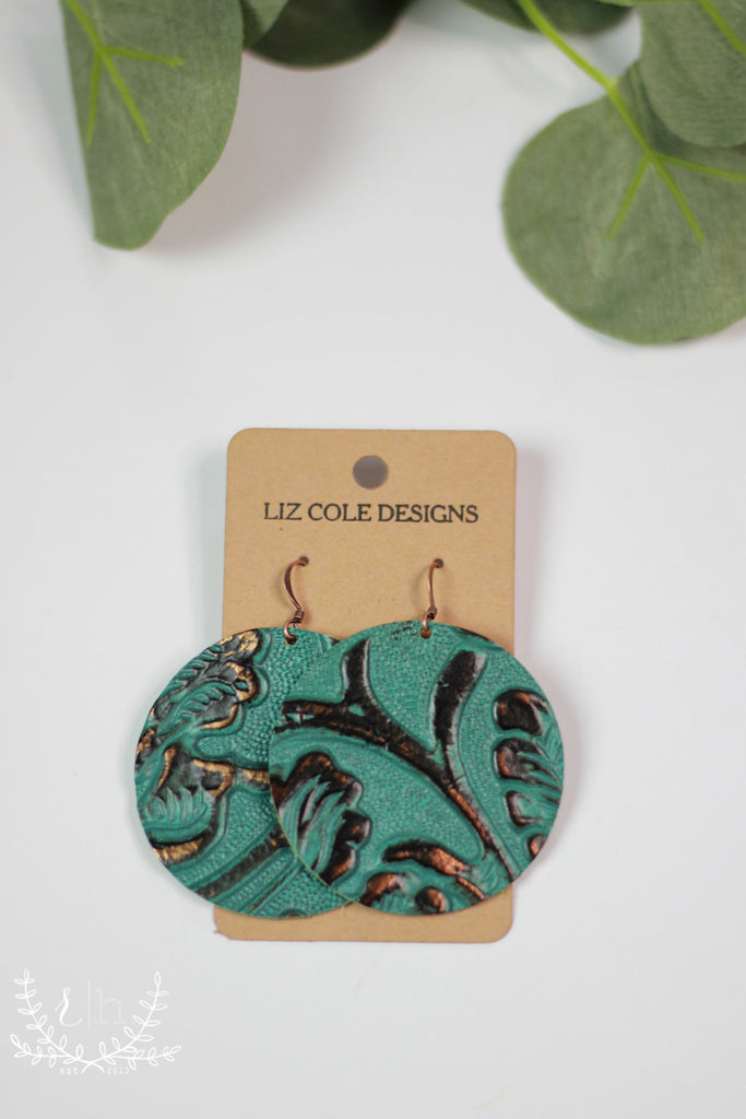 Round Turquoise Tooled Leather Earrings