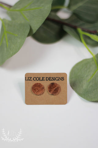 Aged Leather Stud Earrings