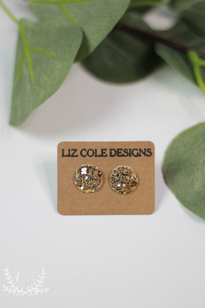 Gold Glitter Shimmer Stud Earrings