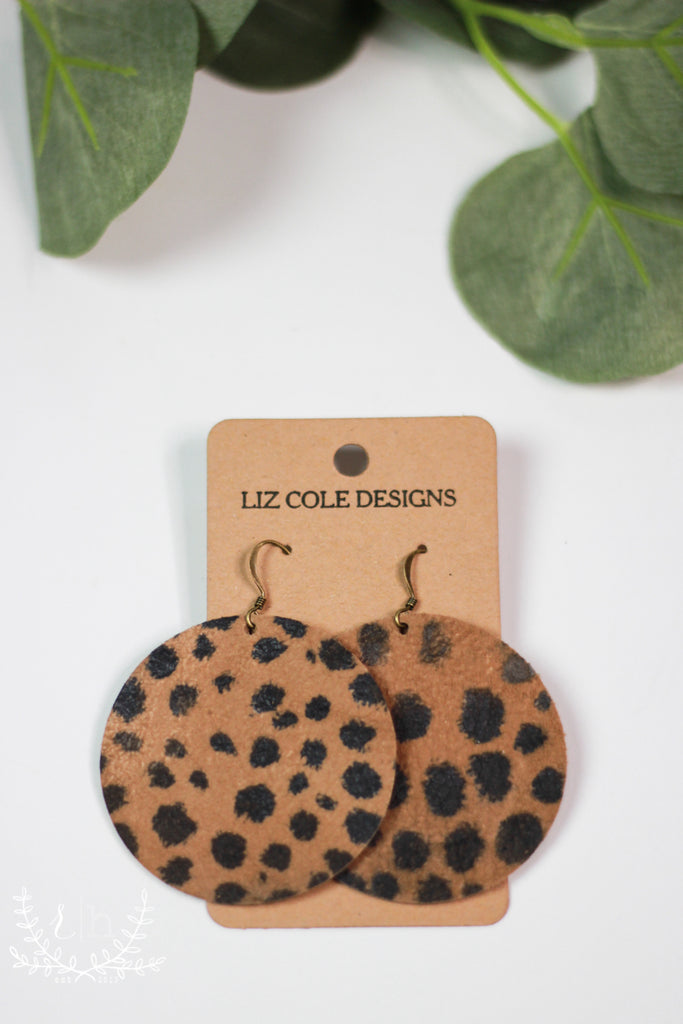 Round Cheetah Print Leather Earrings