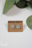 Gray Woven Leather Stud Earrings