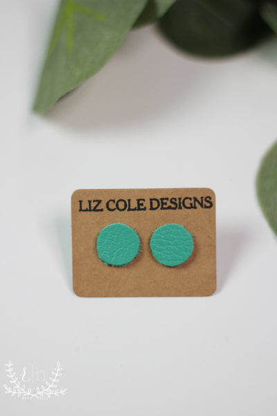 Robin Egg Leather Stud Earrings