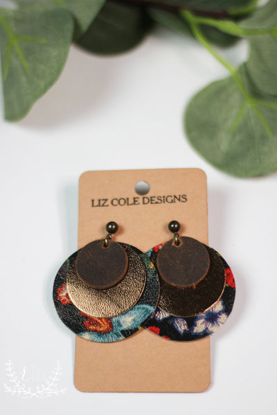 Floral & Metallic Layered Leather Earrings