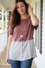 Mauve Waffle Knit Tee w/Ticking Stripe Bottom