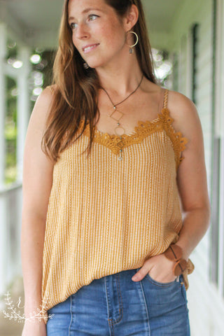 Mustard Stripe Cami With Lace