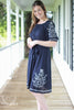 Navy Embroidered Knee Length Dress