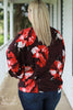 Oversized Floral Twist Front Blouse