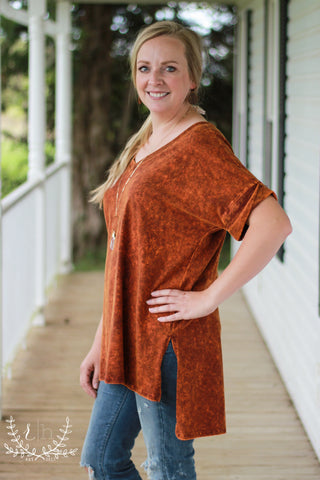 Mineral Wash Pumpkin Spice V-neck Tee w/Rolled Sleeve