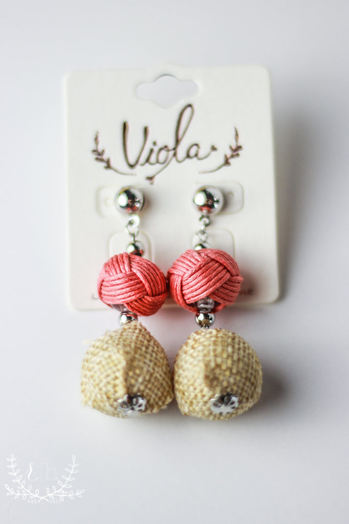 Coral Pink & Burlap Statement Earrings