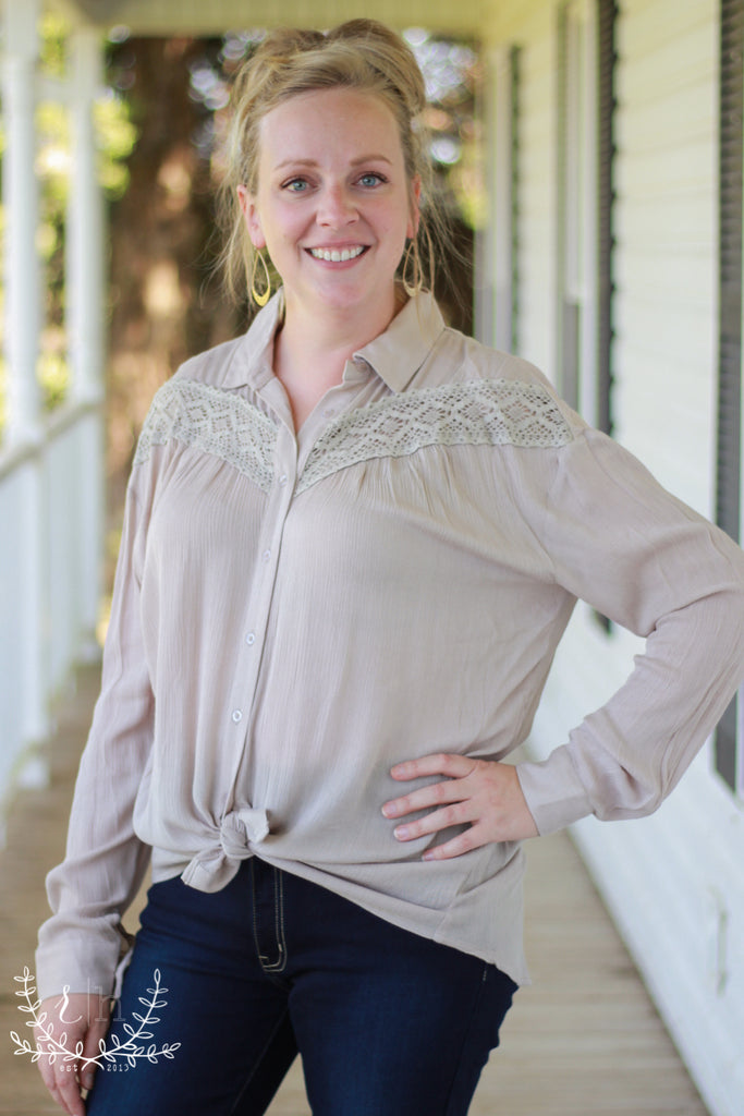 Taupe Button Front Blouse with Lace Details