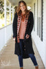 Black Thermal Button Front Knit Duster Cardigan