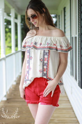 Off Shoulder Cotton Embroidered Peasant Top