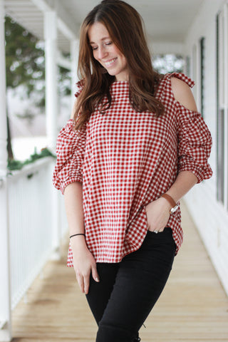 Gingham Cold Shoulder Babydoll Top