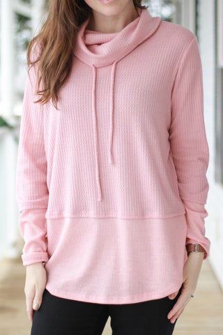 Rose Thermal Waffle Knit Cowl Neck Top