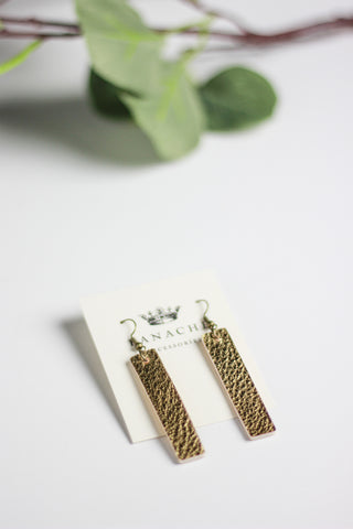 Gold Leather Bar Earrings
